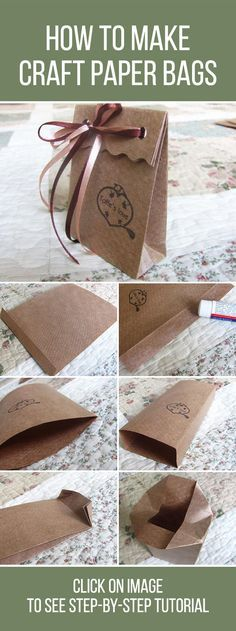 How to make craft paper bags, tutorial / ? : How to make craft paper bags, tutorial / ? Diy Gift Bags Paper, Custom Paper Bags, Paper Bag Crafts, Craft Bags, Paper Gifts, Paper Paper, Kraft Paper, Origami Box Tutorial, Crafts To Make