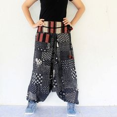 black and white   harem pants hand weave by meatballtheory on Etsy