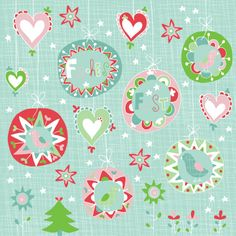 Evelyn Lisi - X-mas Ornamets And Hearts Pattern