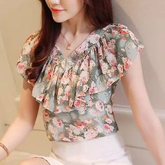 58915ff20 2018 Moda Verão Blusas Femininas Camisas Plus Size Floral Tops Senhoras  Babados Blusa de Manga Curta