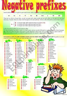 Here is the first part of a set on negative prefixes. A second part will follow with exercises. Thank you very much for your really nice words. Adjective Worksheet, Grammar Worksheets, English Vocabulary, English Grammar, Teaching English, English Language, Prefix Games, English Test, Learn English