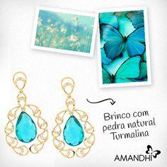O maxi brinco com pedra natural Turmalina é super glamouroso! | Amandhí | www.amandhi.com |