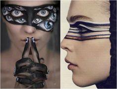 maquillage Halloween et manicure à dessins oeil
