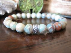 Mens Celtic Bracelet - Aqua Terra Jasper Bracelet for Men, Silver with Blue Green Stone, Mens Gift