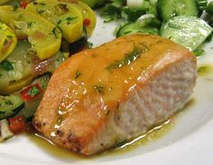 Roasted Salmon With Sweet-N-Hot Mustard Glaze - Robin Miller. Photo by dianegrapegrower