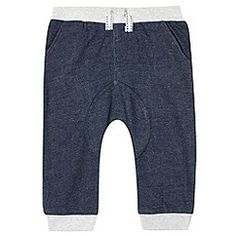 bluezoo - Babies navy ribbed cuff jogging bottoms