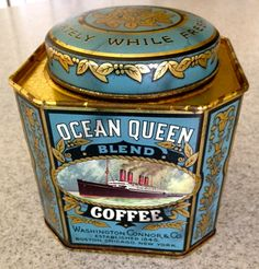 Beautiful vintage Ocean Queen Coffee tin with lid. Tin has 8 sides--4 large panels and 4 smaller ones. Picture of an ocean liner on each of the