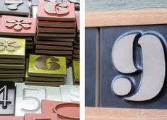 Heath ceramics house numbers in Eames with track, $38 per number.