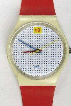 Swatch Watch Mens DOTTED SWISS Red Band Used in Box Vintage1985 Unisex Woman. $79.00, via Etsy.
