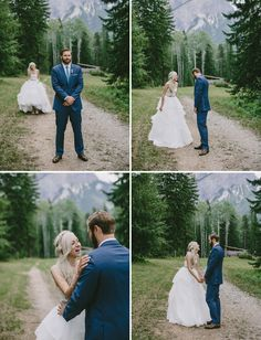 Canada wedding first look (love the dress but would have a v-neckline+criss-cross back)