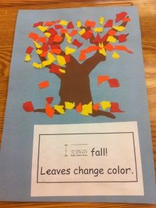 Falling leaves made with torn paper - red / orange / yello