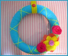 Robin's Egg Blue & Yellow Yarn Wreath. Love it!