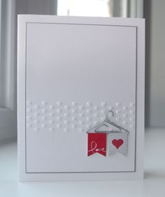 Martha's CAS card uses Banner Blast & its matching Banner Punch (both SAB), Cute Clips, and an Adorning Accents embossing folder. All supplies from Stampin' Up!