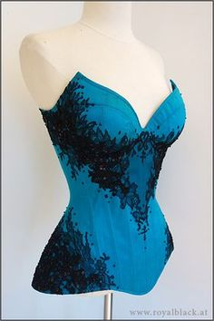 "Cupped Overbust Corset ""Turquoise Noir"" is an overbust corset with integrated…"