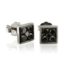 1 carat Square Black Diamond Stud Earrings in 14k White Gold Black Rhodium