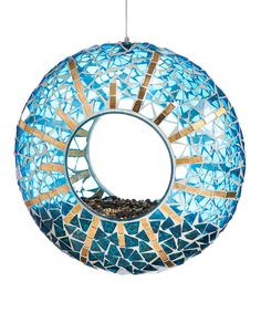 Look at this Blue & Gold Mosaic Circle Feeder on #zulily today!
