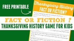 Thanksgiving History Game – Fact or Fiction? History