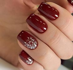 52 Winter nail colors and designs, mismatched nail colors, not . - 52 Winter nail colors and designs, mismatched nail colors, not … - Classy Nails, Fancy Nails, Stylish Nails, Red Nails, Burgundy Nails, Winter Nail Designs, Colorful Nail Designs, Acrylic Nail Designs, Nail Ideas For Winter