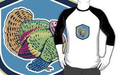 Wild Turkey Side View Shield Retro by patrimonio