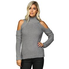 Cold Shoulder Mock Turtleneck Sweater Grey Main Strip ($50) ❤ liked on Polyvore featuring tops, sweaters, mock neck sweater, mock neck turtleneck, mock turtleneck sweater, long sleeve sweater and cold shoulder tops