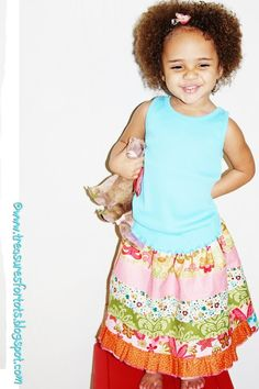 Jelly Roll Stripwork Skirt free Tutorial by Treasures for Tots So so Cute