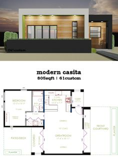 This 805sqft 1 bedroom, 1 bath modern house plan works great for downsizing, as a vacation home, small house plan, casita, pool house or guest house.