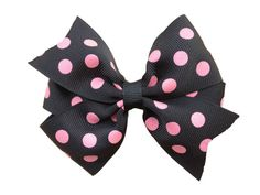 Black & pink polka dot hair bow by BrownEyedBowtique on Etsy, $4.00