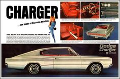 """1966 Dodge Charger Ad: """"Charger... new leader of the Dodge Rebellion."""" - http://wildaboutcarsonline.com/"""