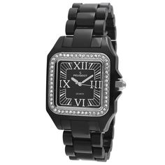 This elegant #Peugeot #Women's #Black #Acrylic crystal bezel #watch features a genuine #Swarovski #Crystal bezel matched with a black dial. Shop Now!