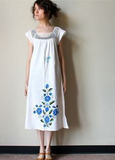 Mexican Embroidery Dress  vintage 70s blue & by factoryhandbook, $35.00