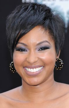 "Not all pixie hairstyles will look great on a round face shape (ones too cropped to the head like a cap can accentuate roundness), but this one on Alicia Quarles works beautifully because it adds lift at the top of the head, elongating a round face.    ""All those little pieces help emphasize the cheekbones and eyes; it's almost as if you build in cheekbones with this cut,"" says stylist Jimmy Paul in Allure Magazine."