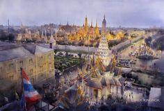 Direk Kingnok Watercolor artist    The grand palace, Bangkok 2017 76x110 cm.