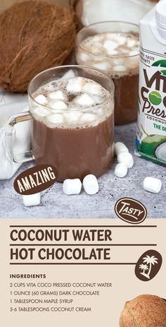 Hot Chocolate Ingredients, Hot Chocolate Recipes, Yummy Drinks, Healthy Drinks, Yummy Food, Vegan Desserts, Vegan Recipes, Dessert Recipes, Smoothie Recipes