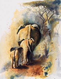 Happy Mother's Day! - I posted this to represent me and my sons - both who remembered and called me from afar. Wildlife Paintings, Wildlife Art, Animal Paintings, Elephant Paintings, Elephant Artwork, Indian Paintings, African Animals, African Art, Watercolor Animals