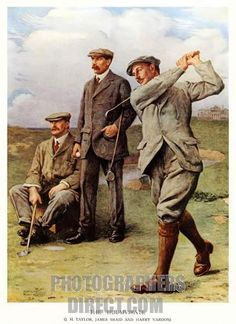 The Great Triumvirate, Clement Fowlers famous 1913 painting of the Triumvirate of British golfers (JH Taylor, James Braid & Harry Vardon) who dominated golf in Edwardian times depicted on the Olds Course at St Andrews.
