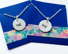 XO Necklace, Best Friend Necklace, Mother Daughter Necklace Set, Hand Stamped Sisters Necklace, Grandma, Grandchild Necklaces