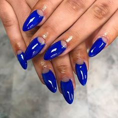 ELECTRICITY The most gorgeous shade of blue on badass acrylics by Our gal blowin' our minds with Blue' over 'White' Blue Nails, Shades Of Blue, Badass, Swatch, Salons, Manicure, Acrylics, Topshop, Nail Art