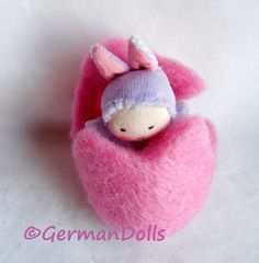 Pink Surprise Easter Egg Bunny Pocket Doll, Waldorf style Doll in felted Egg, Waldorf Easter treat
