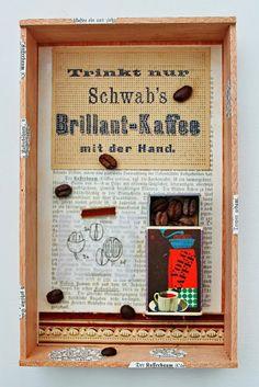 mano kellner, projekt 2013, kunstkiste nr 48, schwab's brilliant-kaffee Box Art, Art Boxes, Shadow Box, Collages, Frame, Art Ideas, Home Decor, Crates, Libros