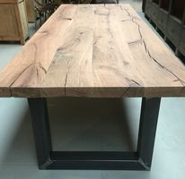 Heavy rustic oak table, made from dark french aok.