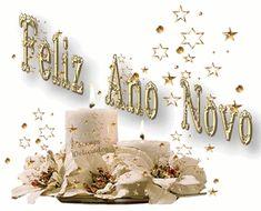 Gifs de feliz ano novo com letras douradas