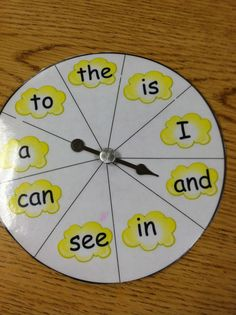 popcorn word spinner - make for review words or ones having difficulty remembering for repeated practice