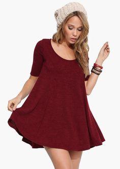 Wonderful dress!  Oversized Swing Dress in Burgundy   Necessary Clothing / So sweet !!