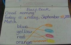 K-Crew's Buzz Book Page. Ideas writing the morning message.