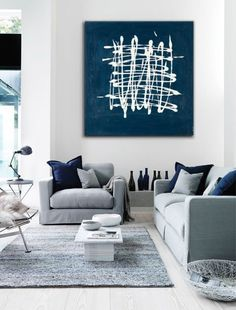 Wall Art Canvas Art Large Abstract Painting Blue Teal White Modern  Contemporary Minimalist Minimalism. Navy Living RoomsLiving ...