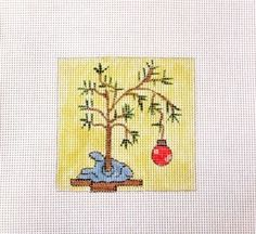 Skinny Charlie Brown Style Christmas Tree Handpainted Needlepoint Canvas #Unbranded