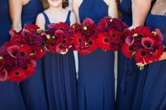 Bride and Bridesmaid Bouquets :  wedding bouquets ivory maroon navy red IMG 0728web