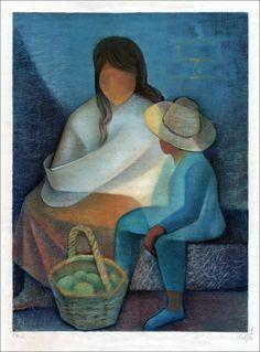 """TOFFOLI Louis - Lithographie Originale """"La mère et l'enfant"""" 76x56cm - 1980"""