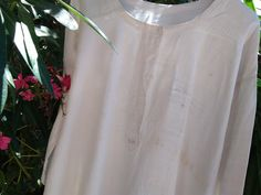 XL Long Victorian Shirt White Hemp and Linen Handmade 1880 Unisex French Country Side Gown Theater Movie Costumes #sophieladydeparis