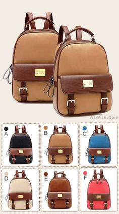 Which color do you like? Retro Elegant College Backpack #retro #school #backpack #college #student #rucksack #travel #bag #canvas #girl